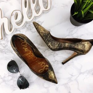 SAM EDELMAN Portney Metallic Lizard Heel Gold 7.5